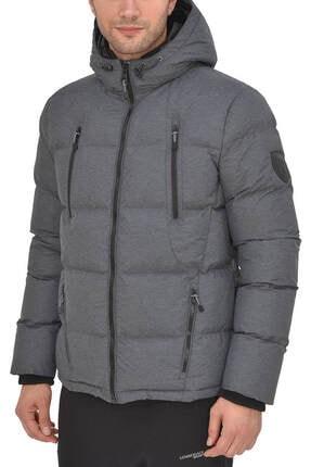 lumberjack Gano Coat Gri Mel Siyah Erkek Kısa Kaban 100340357