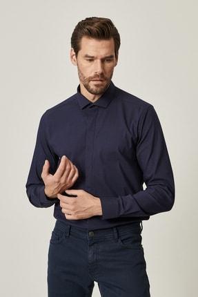 ALTINYILDIZ CLASSICS Erkek Lacivert Tailored Slim Fit Dar Kesim Küçük İtalyan Yaka Gömlek