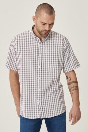 ALTINYILDIZ CLASSICS Erkek Beyaz-Bordo Regular Fit Kısa Kollu Gömlek