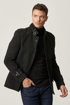 ALTINYILDIZ CLASSICS Erkek Siyah Ekstra Slim Fit Dik Yaka Klasik Kışlık Kaban