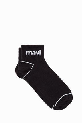 Mavi Erkek Logo Baskılı Siyah Soket Çorap 092523-900
