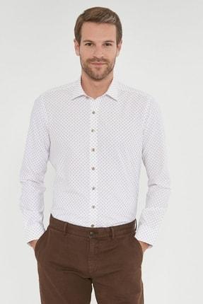 ALTINYILDIZ CLASSICS Erkek Bej Tailored Slim Fit Baskılı Gömlek