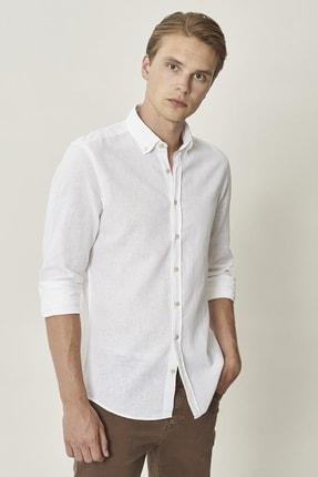ALTINYILDIZ CLASSICS Erkek Beyaz Tailored Slim Fit Beyaz Düğmeli Yaka Keten Gömlek