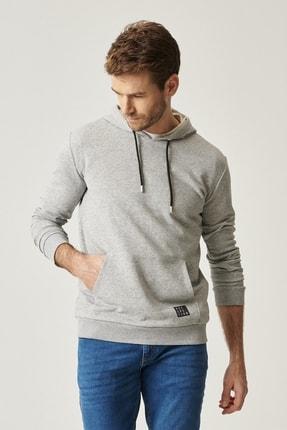 AC&Co / Altınyıldız Classics Erkek Açık Gri Slim Fit Günlük Rahat Kanguru Cepli Spor Sweatshirt
