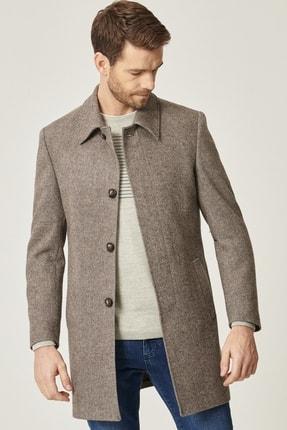 ALTINYILDIZ CLASSICS Erkek Kahverengi-Bej Standart Fit Yünlü Klasik Kışlık Palto
