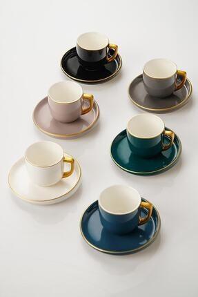 ACAR Helsinki 6lı Porselen Yuvarlak Kahve Fincan Takımı - Renkli
