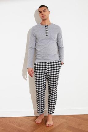 TRENDYOL MAN Siyah Ekoseli Dokuma Pijama Takımı THMAW21PT0767