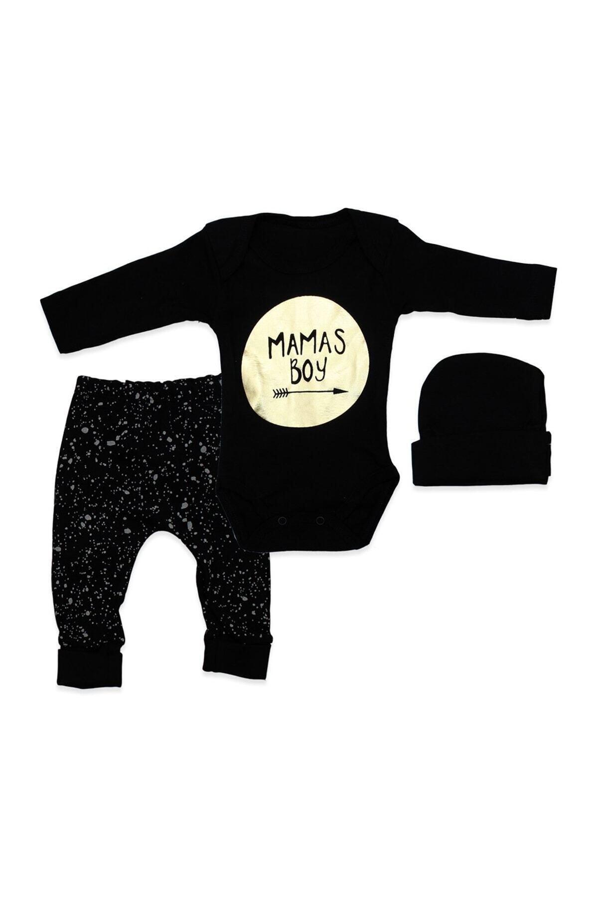 Kardelya Baby Erkek Bebek Siyah Şapkalı Mamas Boy 3 Lü Takım K894 1