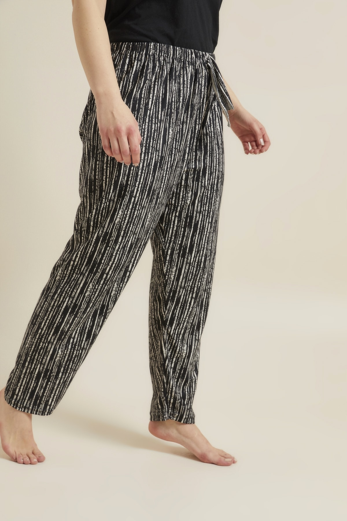 For Big Trend Kadın Siyah Desenli Büyük Beden Pijama Altı 2