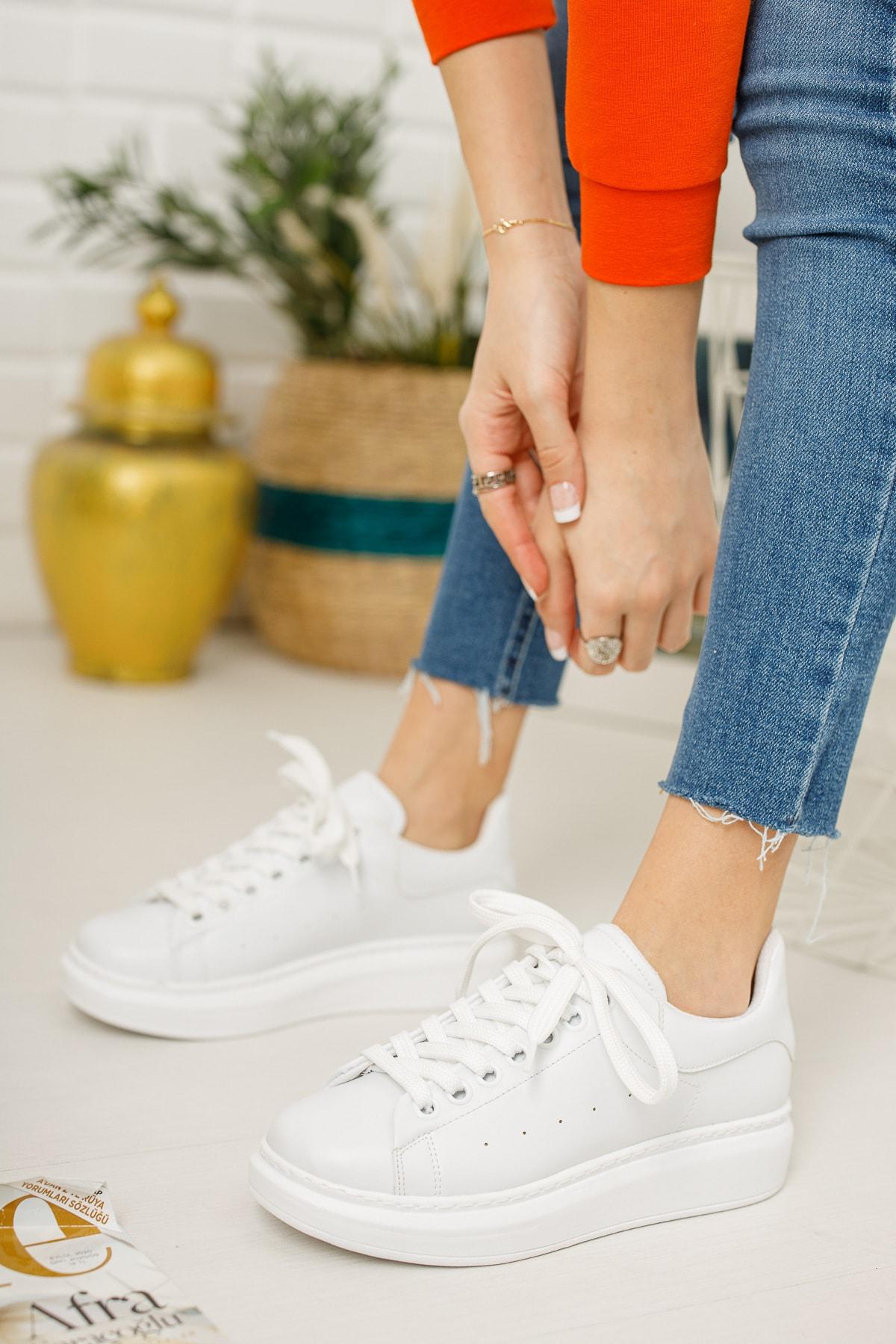 meyra'nın ayakkabıları Kadın Beyaz Sneaker 1