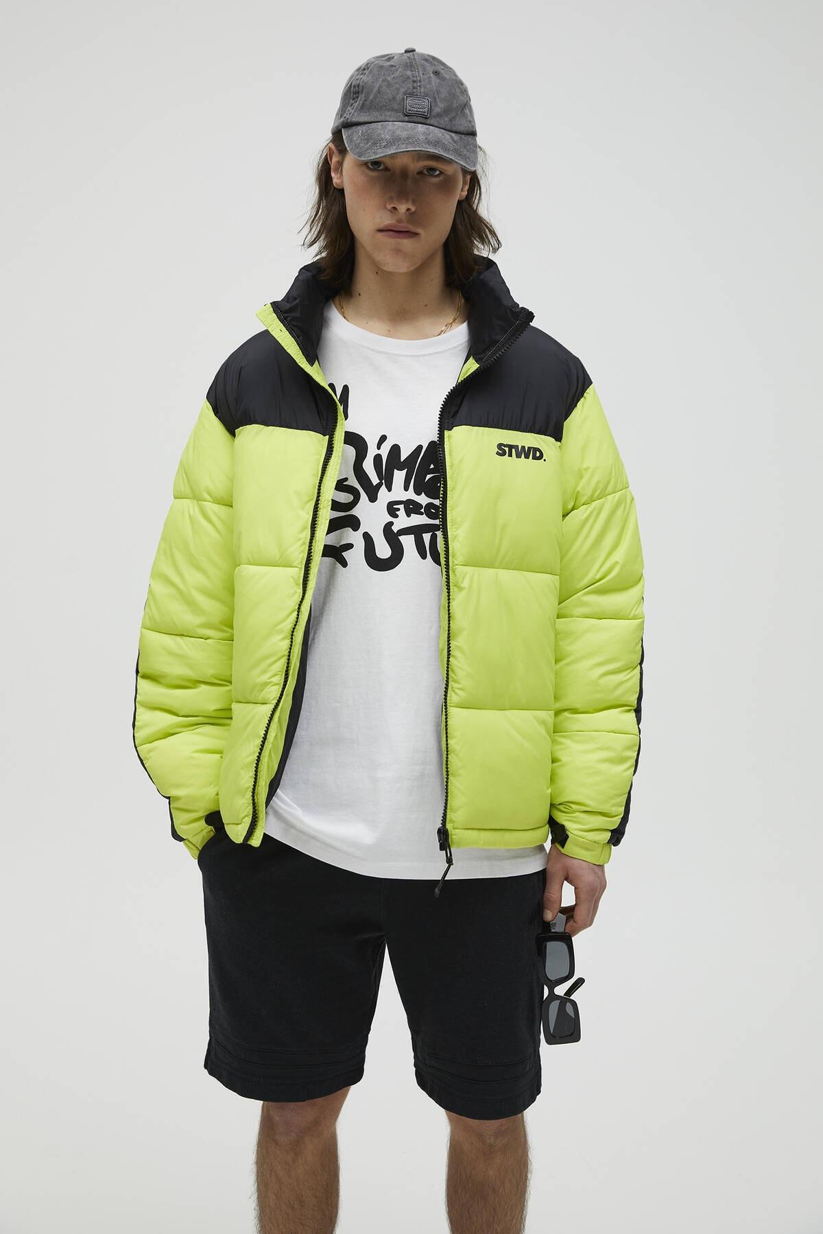 Pull & Bear Erkek Limon Yeşili Blok Renkli Şişme Mont 09710930