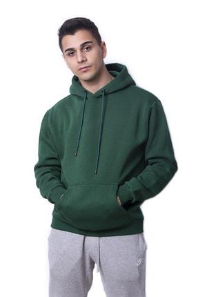 Fenomen Ürünler Yeşil Renk Oversize Unisex Kapşonlu Sweatshirt