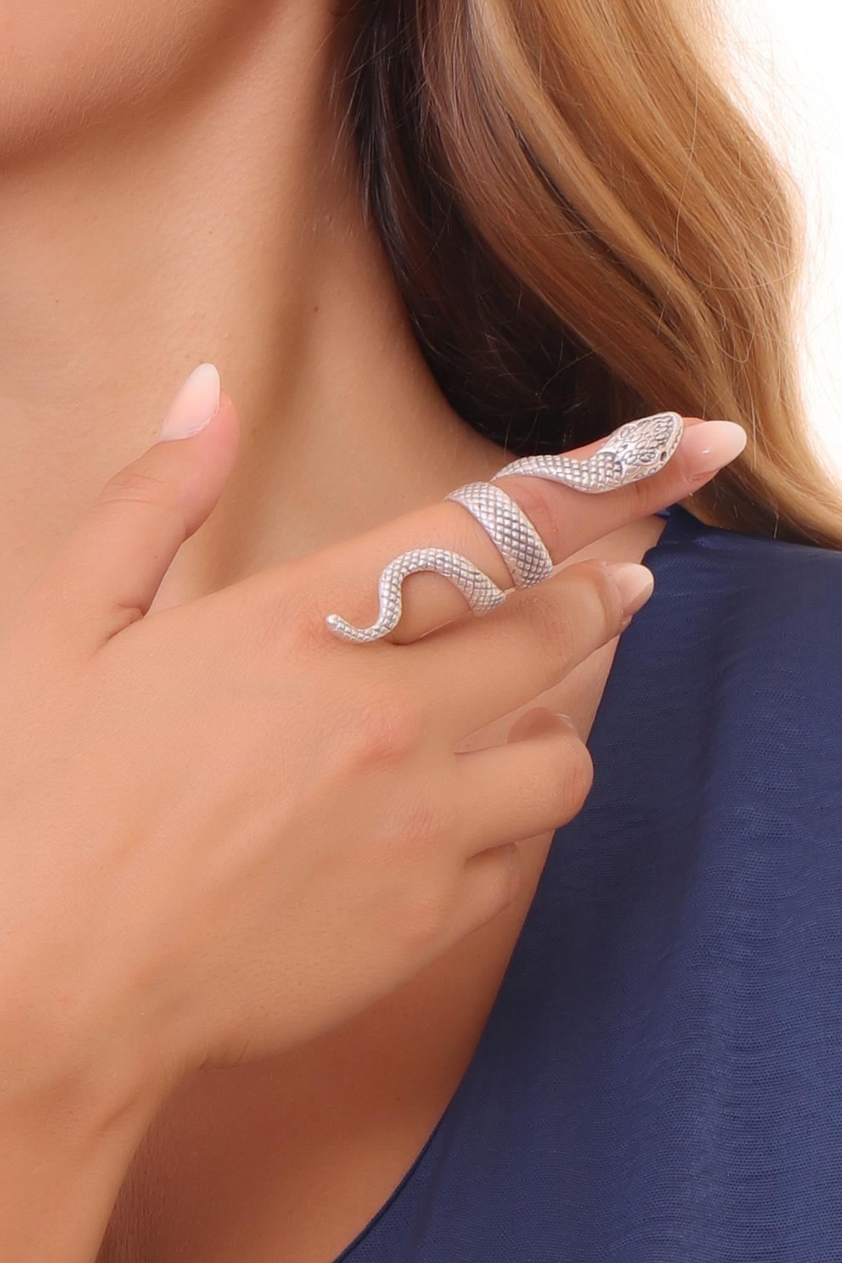 LABALABA Kadın Antik Gümüş Kaplama Dolama Model Yılan Formlu Ayarlanabilir Sağ Parmak Yüzük 2