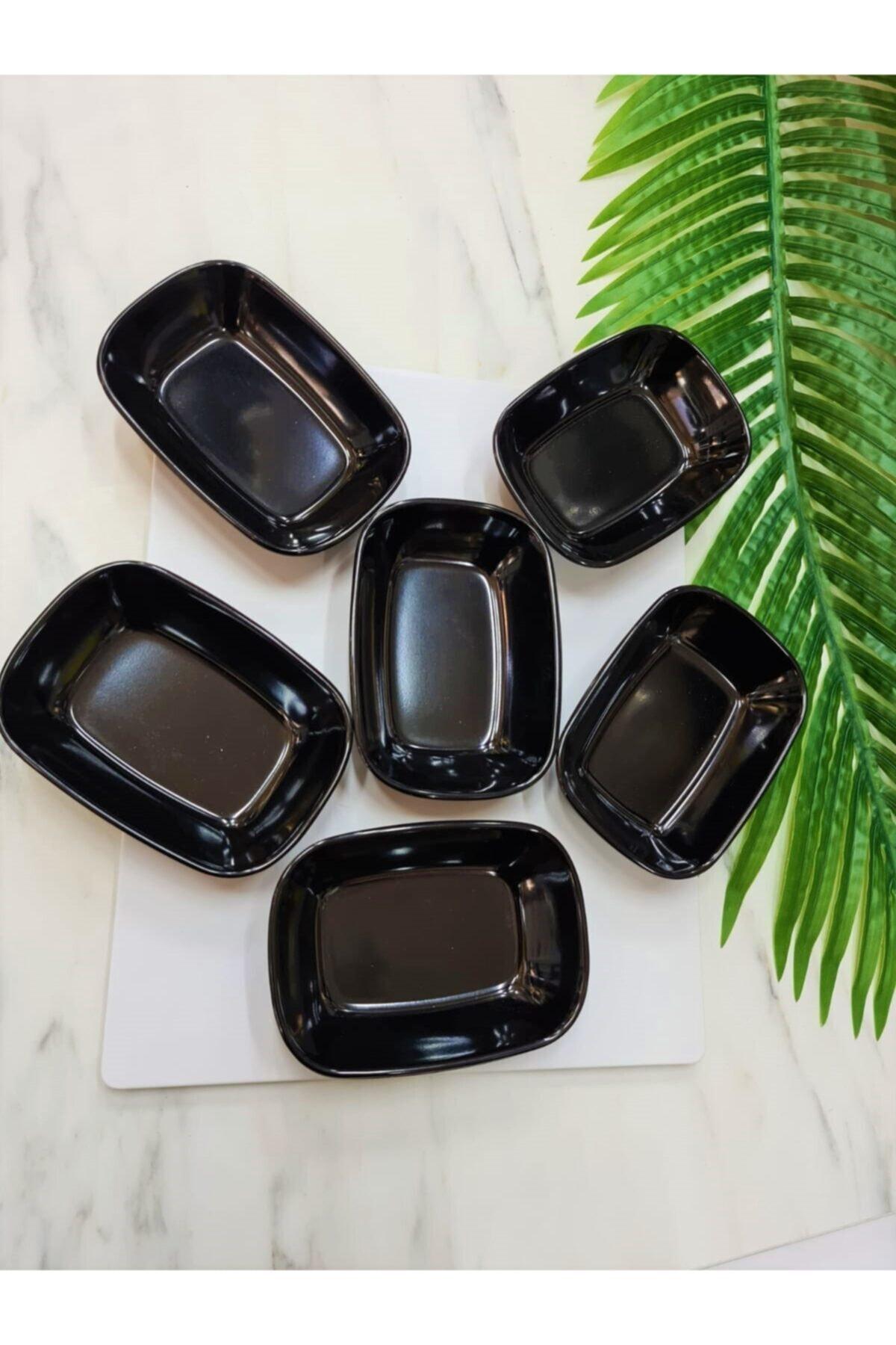 Evren 6 Adet 14cm Siyah Thermo Melamin Kırılmaz Meze-kahvaltı Tabağı 1