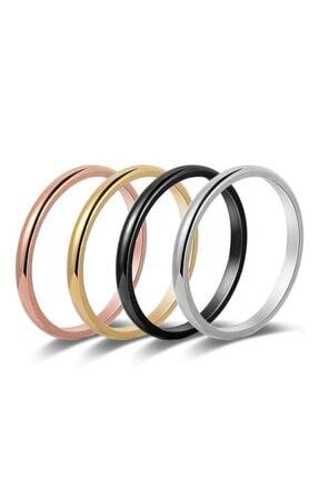 Takı Dükkanı 4 Adet 2mm Ince Çelik Alyans Söz Nişan Yüzüğü 4 Parça 4 Renk Cl20