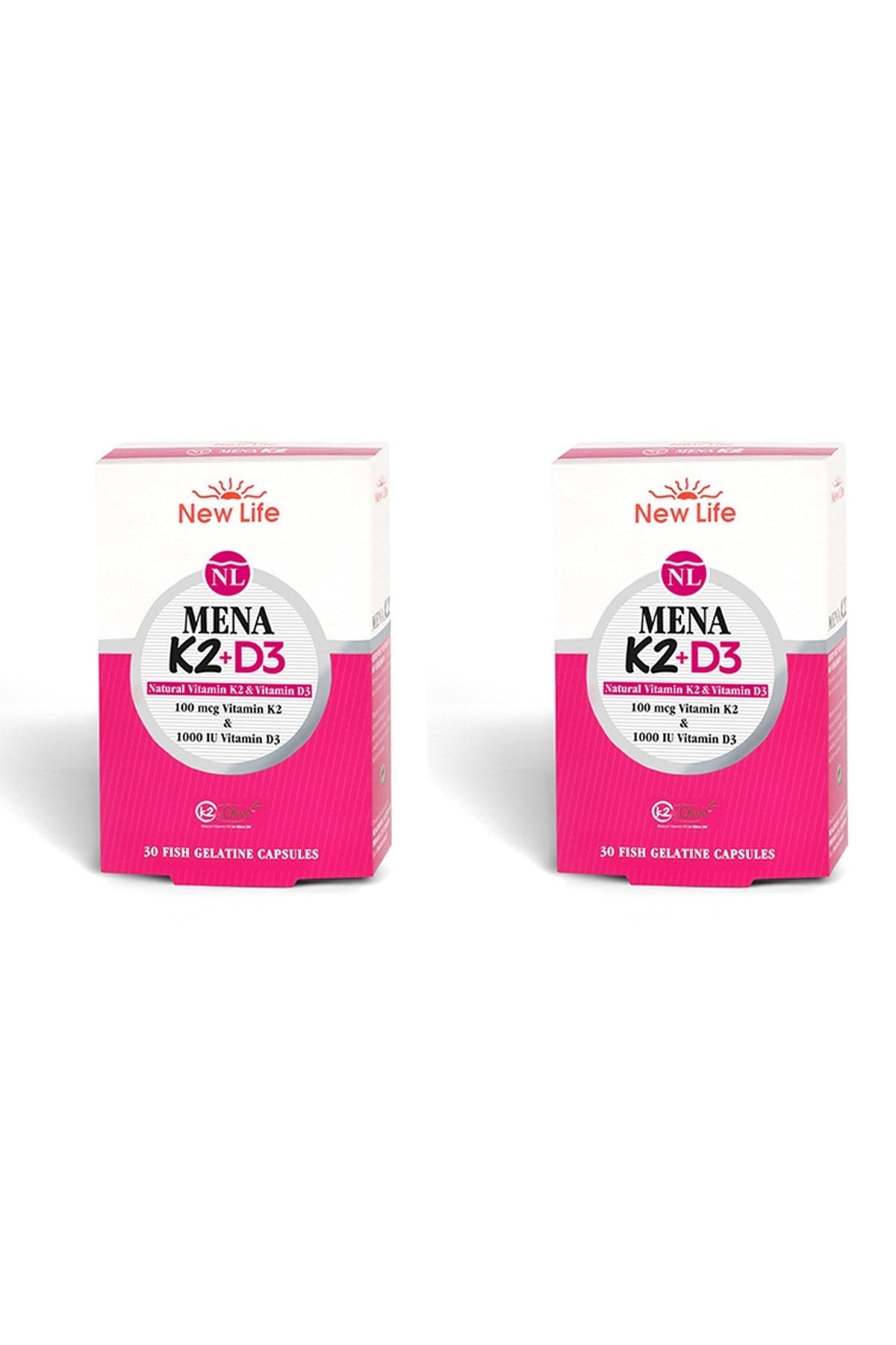 New Life Mena K2+d3 Natural Vitamin 30 Kapsül 2'li Paket 1