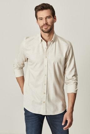AC&Co / Altınyıldız Classics Erkek Bej Tailored Slim Fit Dar Kesim Düğmeli Yaka Twill Gömlek