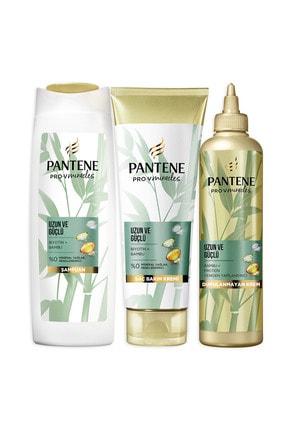 Pantene Uzun ve Güçlü Bambu ve Biotin Saç Bakım Şampuanı 400 ml+Şekillendirici Krem 275 ml+Maske 270 ml