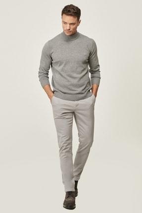 AC&Co / Altınyıldız Classics Erkek Gri Kanvas Slim Fit Dar Kesim Yan Cep Chino Pantolon