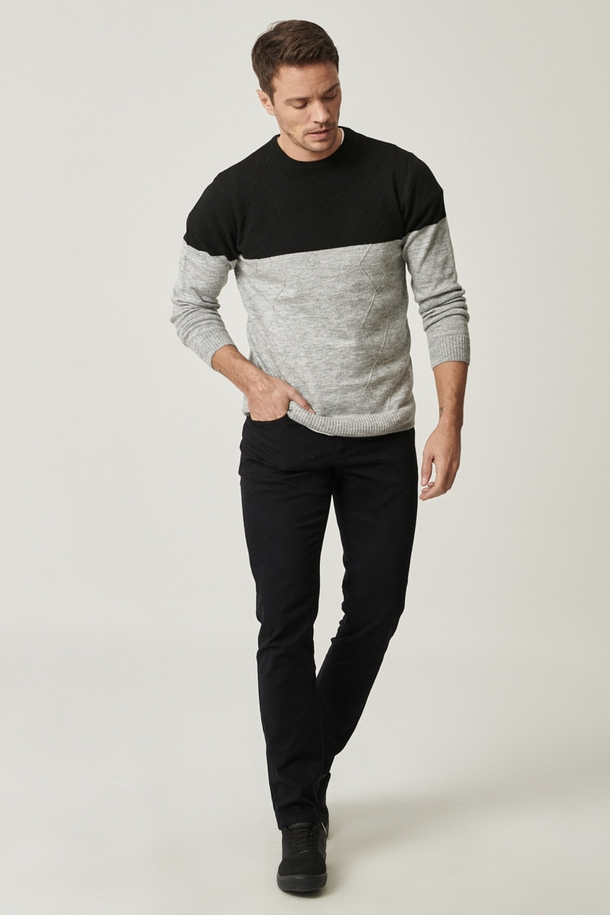 AC&Co / Altınyıldız Classics Erkek Siyah Kanvas Slim Fit Dar Kesim 5 Cep Pantolon 1