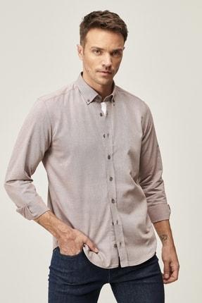 AC&Co / Altınyıldız Classics Erkek Bordo Tailored Slim Fit Dar Kesim Düğmeli Yaka Twill Gömlek