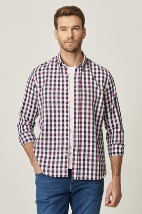 AC&Co / Altınyıldız Classics Erkek Bordo-Lacivert Tailored Slim Fit Dar Kesim Düğmeli Yaka Kareli Gömlek