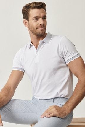 ALTINYILDIZ CLASSICS Erkek Beyaz Düğmeli Polo Yaka Cepsiz Slim Fit Dar Kesim Düz Tişört