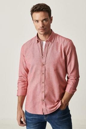 AC&Co / Altınyıldız Classics Erkek Bordo Tailored Slim Fit Dar Kesim Düğmeli Yaka Oxford Gömlek