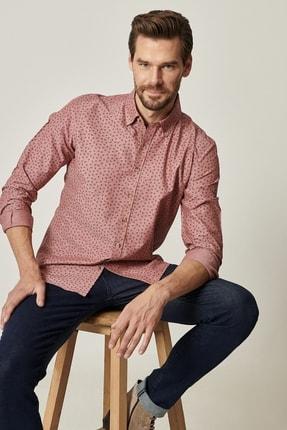 AC&Co / Altınyıldız Classics Erkek Gül Kurusu Tailored Slim Fit Düğmeli Yaka Baskılı Gömlek