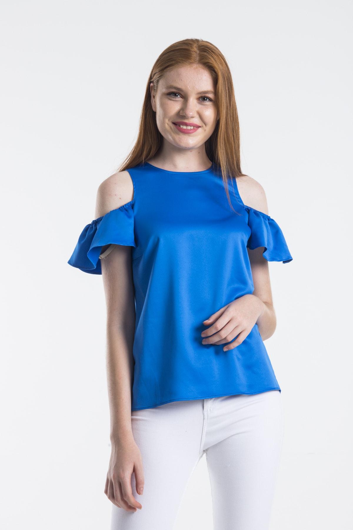 dm street style Kadın Mavi Ipek Saten Omuzu Açık Kolu Lastikli Bluz 2