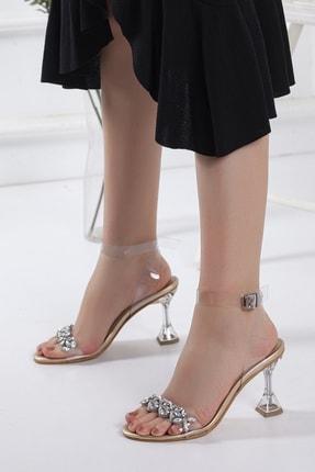 Miss Nysa Kadın Şeffaf Taşlı Stiletto Topuklu Ayakkabı Altın