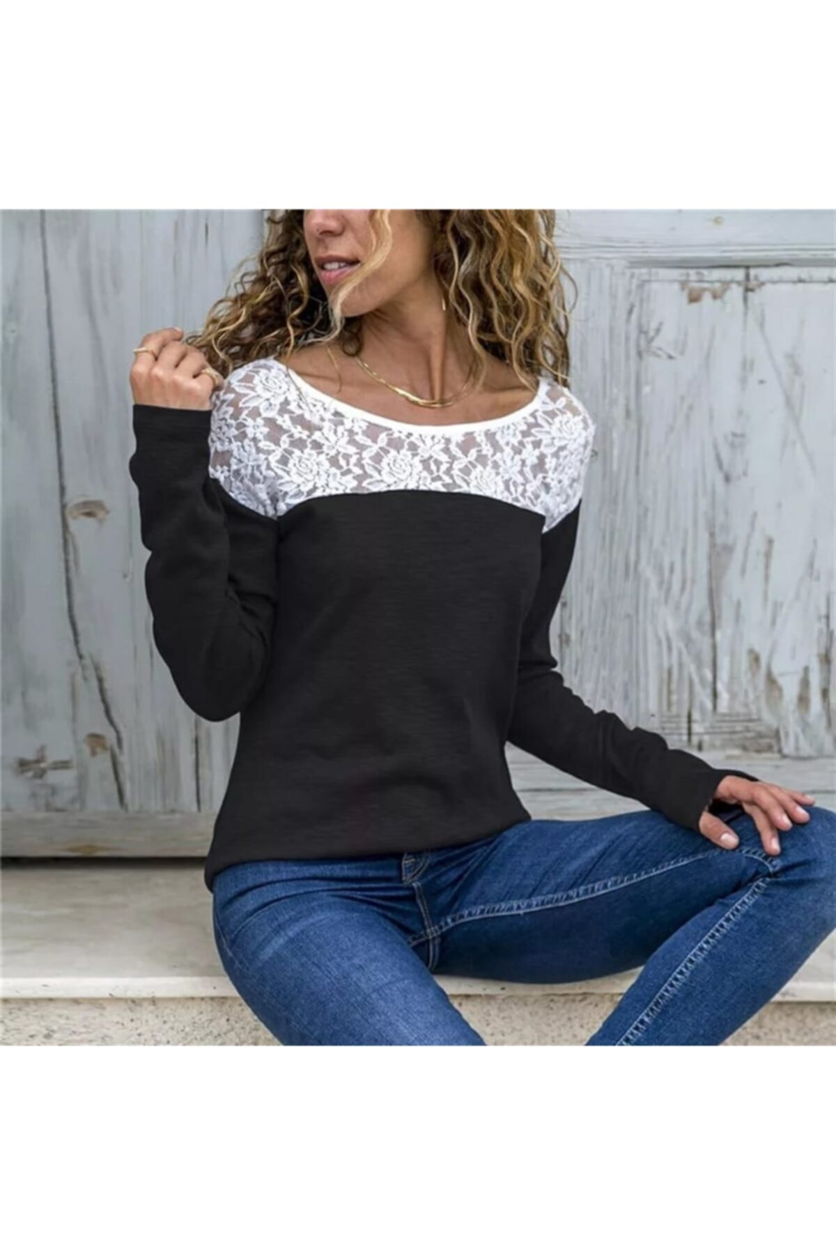 JANES Kadın Siyah Dantel Detay İki İplik Bluz 1