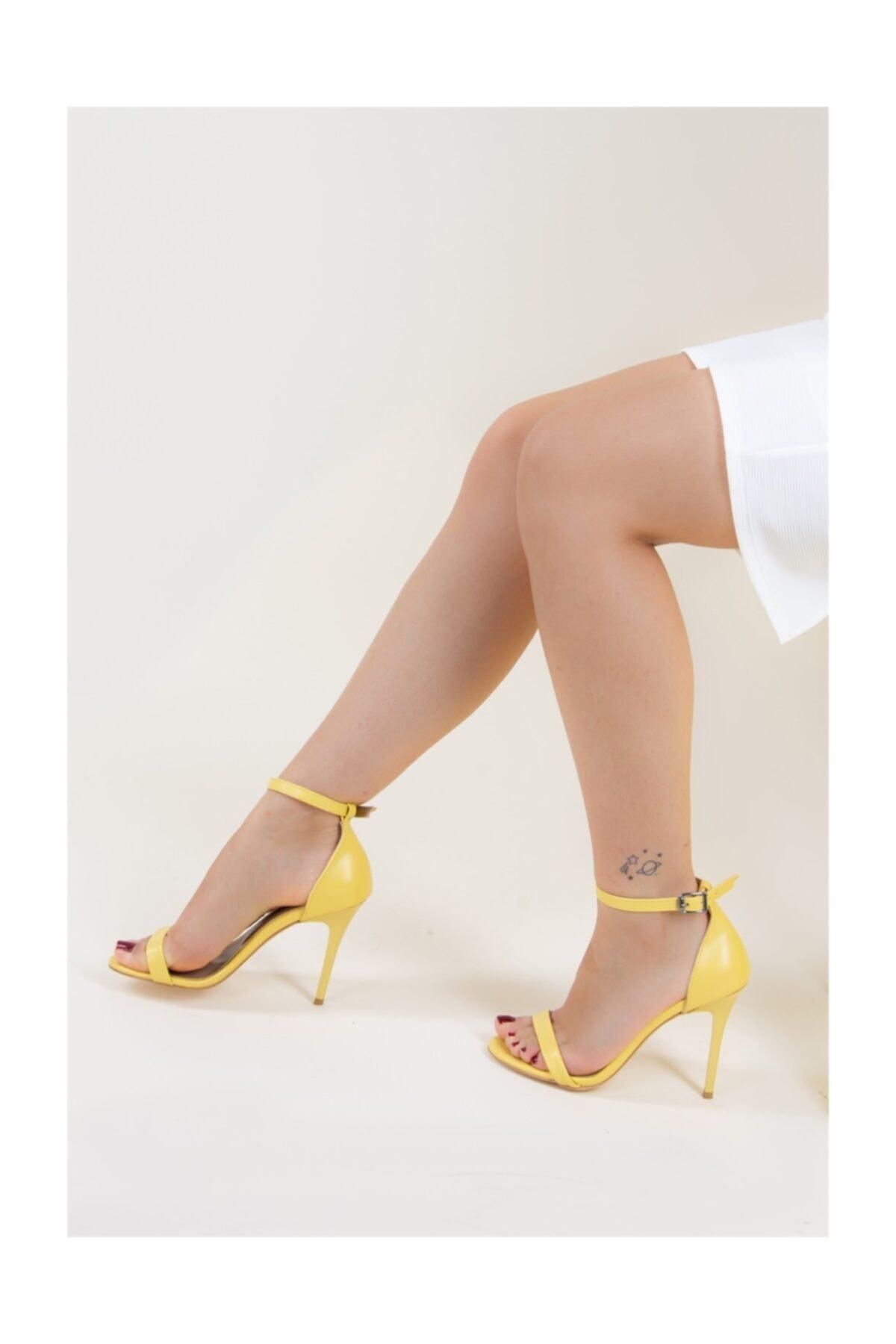 Fox Shoes Sarı Kadın Topuklu Ayakkabı B922112609 2