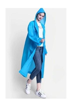 Orvila Unisex Mavi Kapüşonlu Yağmurluk Kaliteli Eva Kumaş Yağmurluk