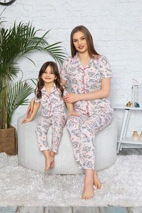 modalizy Anne Kız Kombin Pembe Desenli Pijama Takımı