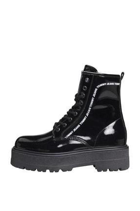 Tommy Hilfiger Kadın Siyah Bot & Bootie Patent Lace Up Boot EN0EN01151