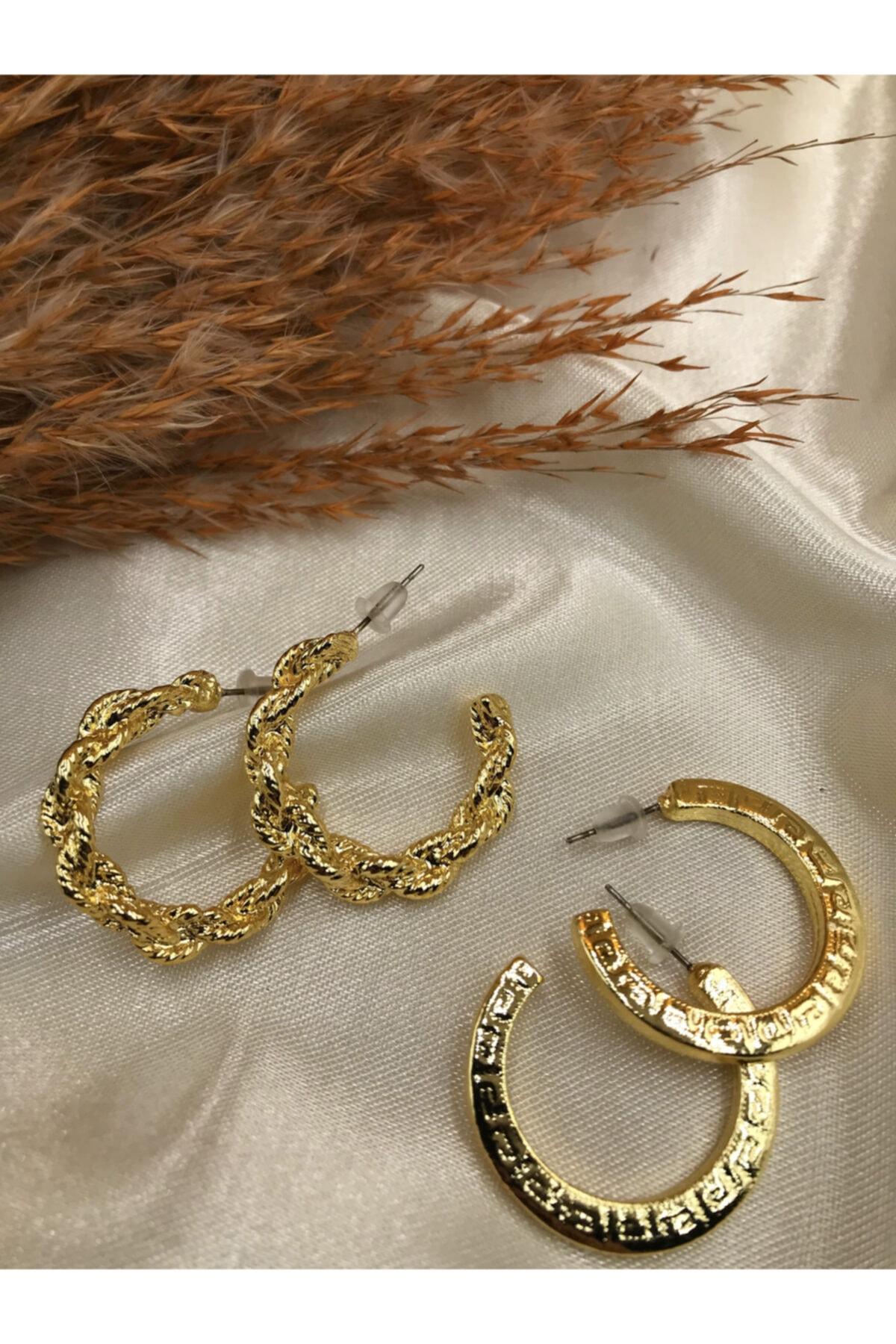 Eylülün Takısı Kadın Gold Renk İkili Aşk Küpeleri 2