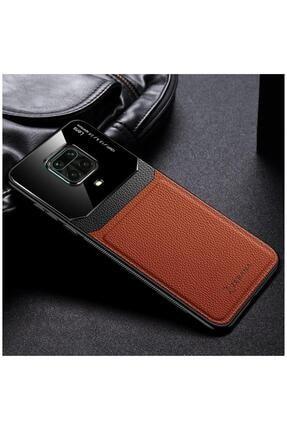Dara Aksesuar Xiaomi Redmi Note 9 Pro Uyumlu Kahverengi Zebana Lens Deri Telefon Kılıfı