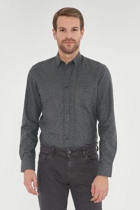 ALTINYILDIZ CLASSICS Erkek Antrasit Tailored Slim Fit Dar Kesim Düğmeli Yaka Kışlık Gömlek
