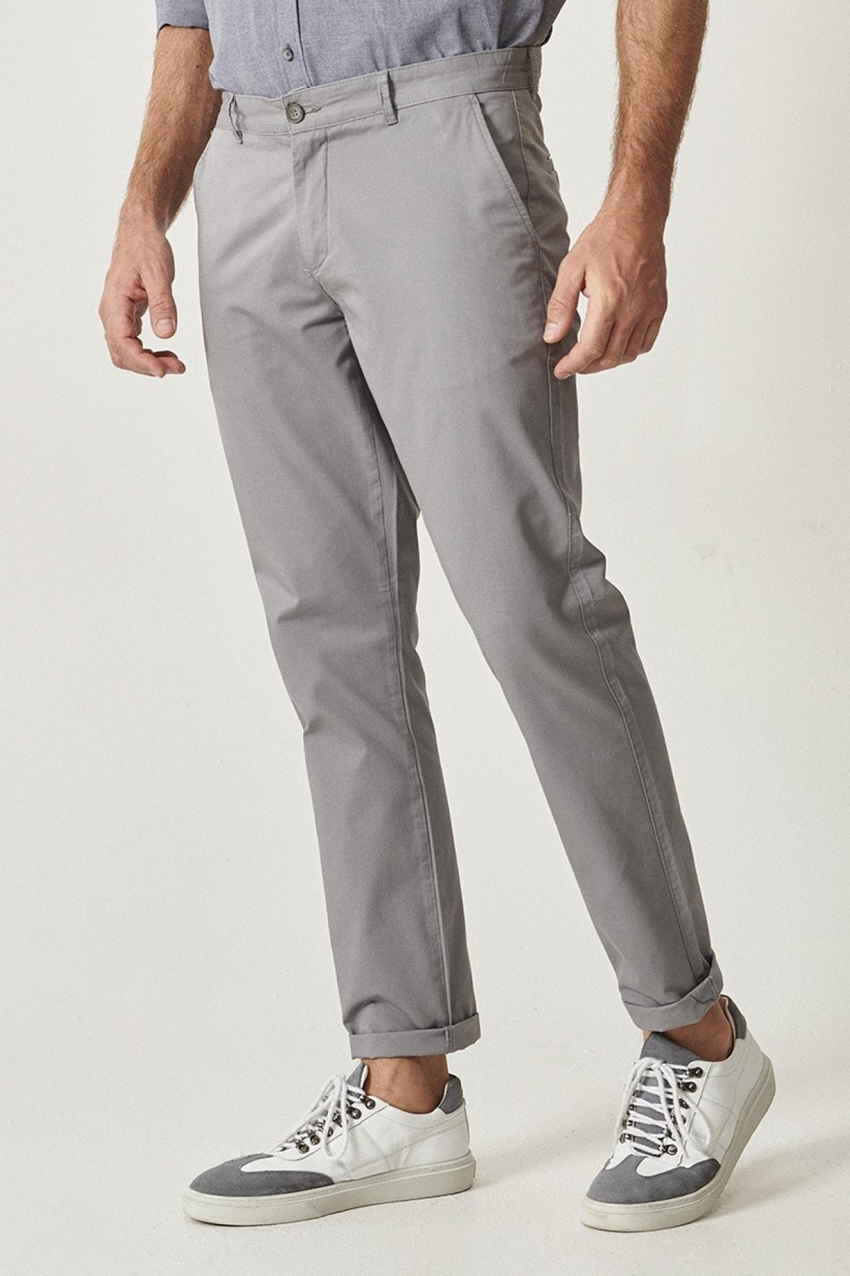 ALTINYILDIZ CLASSICS Erkek Gri Kanvas Slim Fit Chino Pantolon 1