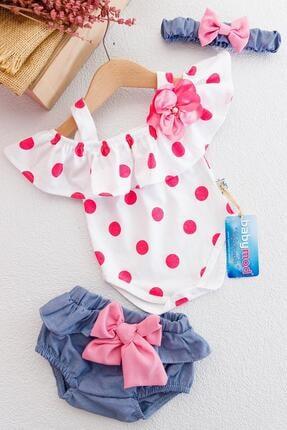 Babymod Kız Bebek Pembe Puantiye Desenli Bandanalı Tulumlu Takım
