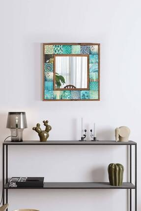 bluecape Valensiya Doğal Ağaç 33x33 Cm Çerçeveli Antik Limra Taş Kaplı Salon Duvar Konsol Boy Aynası
