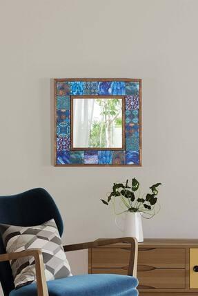 bluecape Amalfi Doğal Ağaç Çerçeveli Doğal Limra Taş Kaplı Salon Duvar Konsol Boy Aynası 33x33 Cm