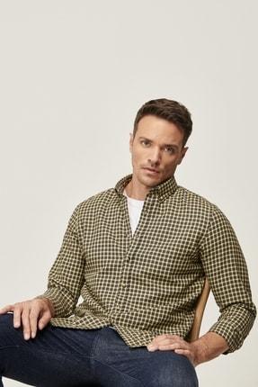 AC&Co / Altınyıldız Classics Erkek Antrasit-Sarı Tailored Slim Fit Dar Kesim Düğmeli Yaka Kışlık Gömlek