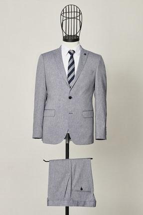 ALTINYILDIZ CLASSICS Erkek Lacivert Slim Fit Dar Kesim Desenli Lacivert Su Geçirmez Nano Takım Elbise