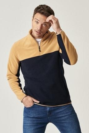 AC&Co / Altınyıldız Classics Erkek KARAMEL-LACI Slim Fit Günlük Rahat Çift Renkli Polar Spor Sweatshirt