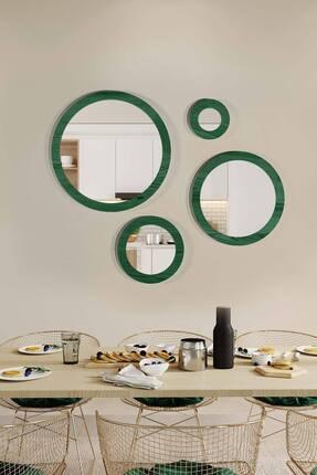 bluecape Doğal Ağaç Masif Yeşil Çerçeve 4'lü Set Antre Koridor Duvar Salon Banyo Ofis Çocuk Yatak Odası Ayna