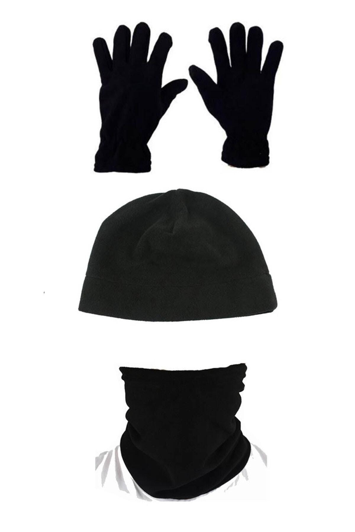 Asker Kolisi Unisex Siyah 3'lü Set: Polar Bere Boyunluk Eldiven 1