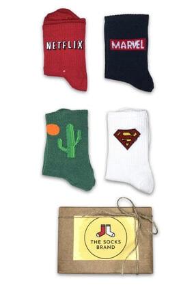 The Socks Brand Unisex Netflx Marvel Kaktüs Süpermen Desenli Pamuklu 4'lü Set Çorap  Tsb-movie-0104