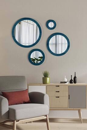 bluecape Doğal Ağaç Masif Mavi Çerçeve 4'lü Set Antre Koridor Duvar Salon Banyo Ofis Çocuk Yatak Odası Ayna